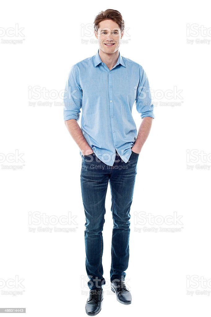 Smiling young guy over white stock photo