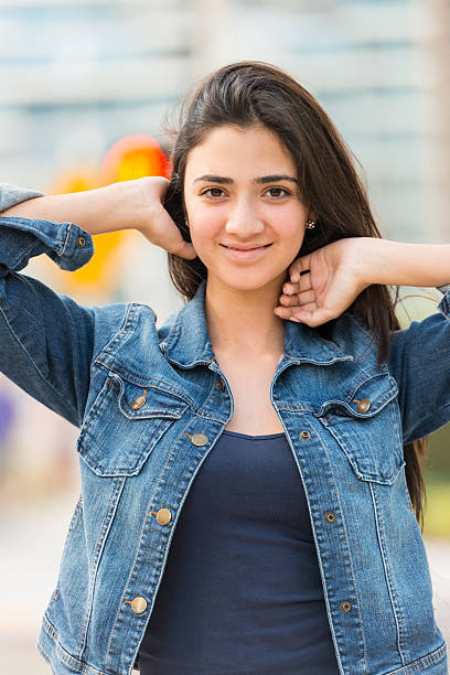 Beautiful Mexican Young Woman Colorful Portrait Of