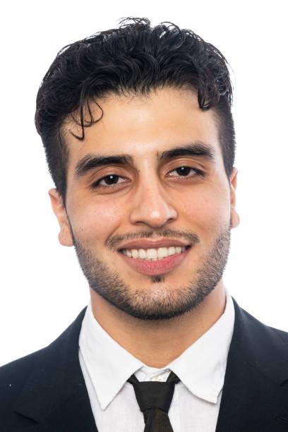 Smiling young man headshot stock photo