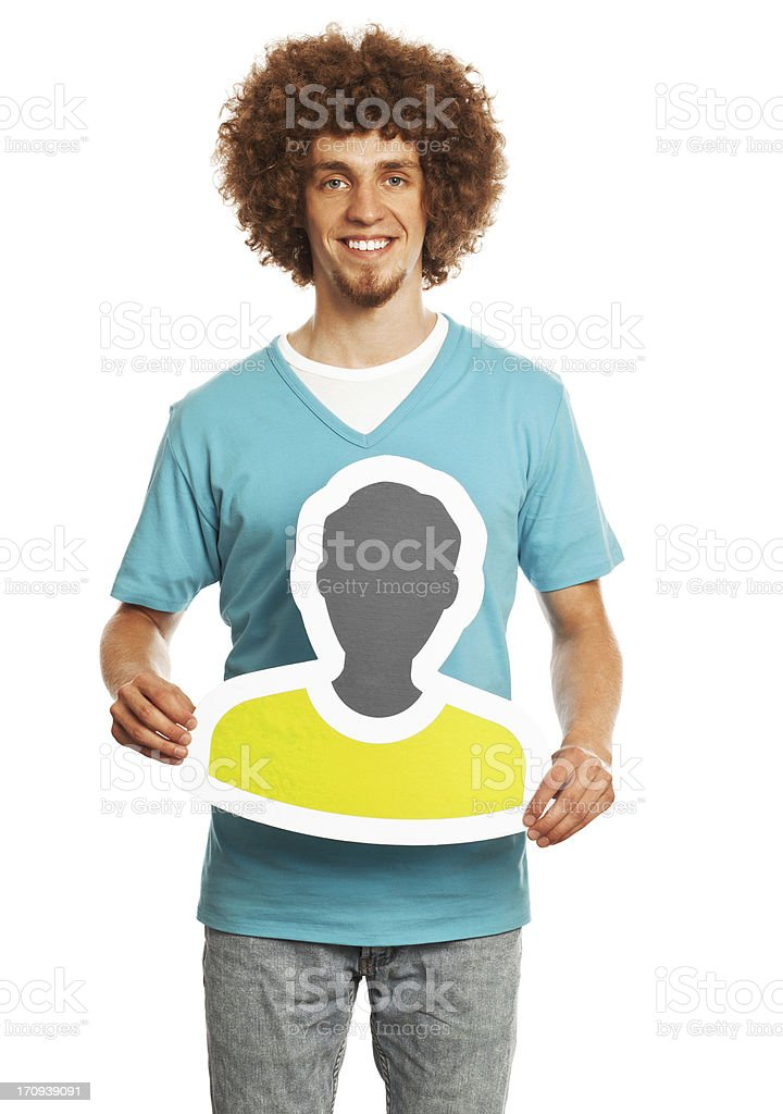 Smiling young man holding profile image sign isolated on white. stock photo
