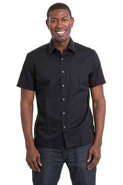 smiling young man portrait - korte mouwen stockfoto's en -beelden