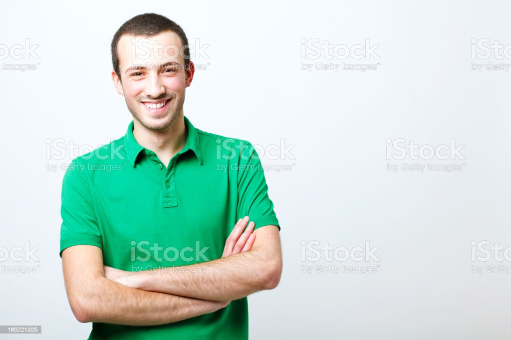 Smiling young man portrait stock photo