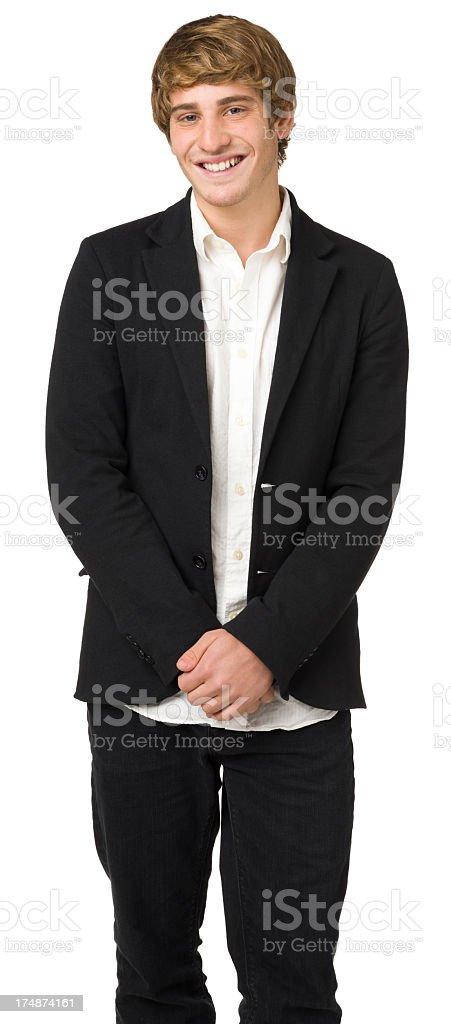 Smiling Young Man Standing Three Quarter Length Portrait stock photo