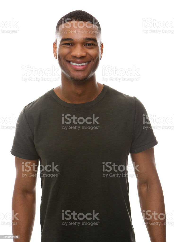 Smiling young man with green t-shirt stock photo