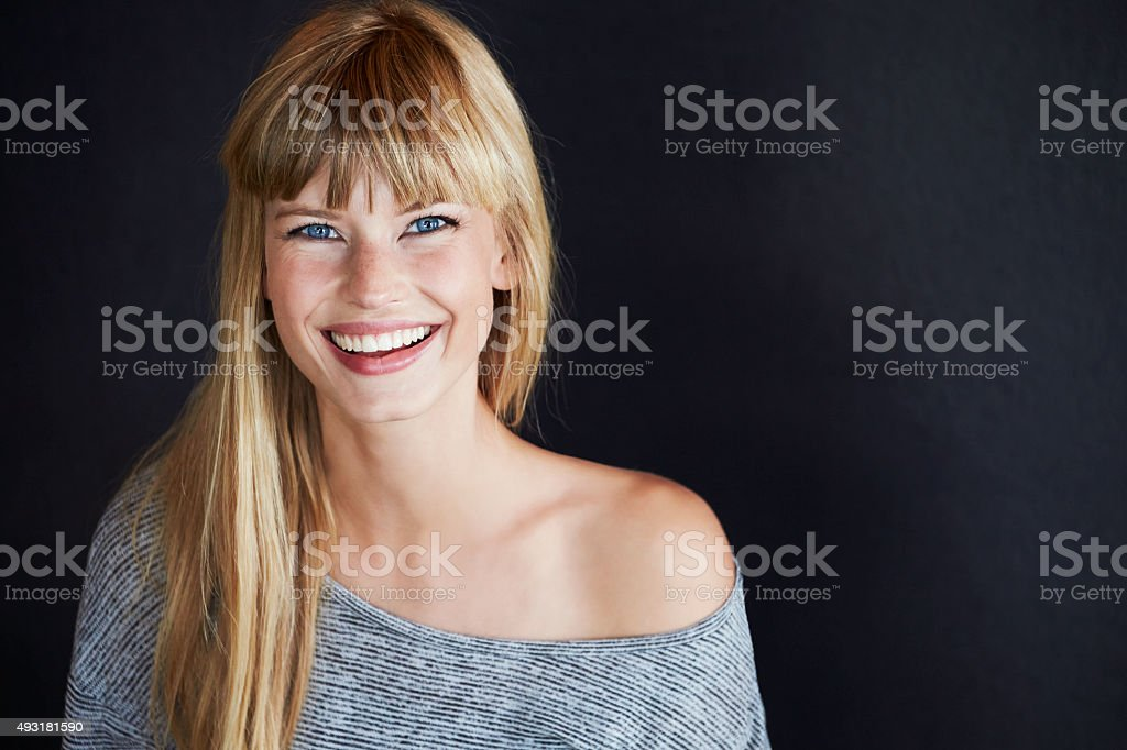 Smiling young model stock photo