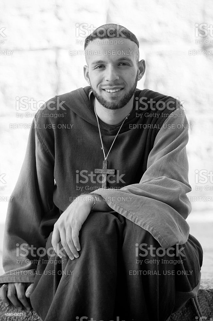 Smiling young monk royalty-free stock photo