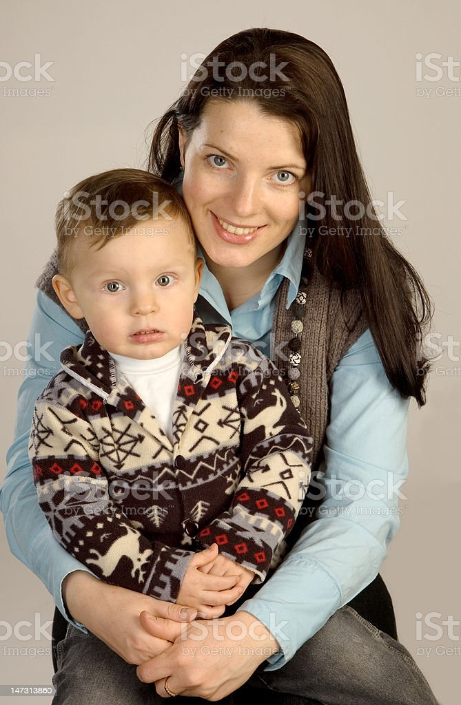 Smiling young mother with son royalty-free stock photo