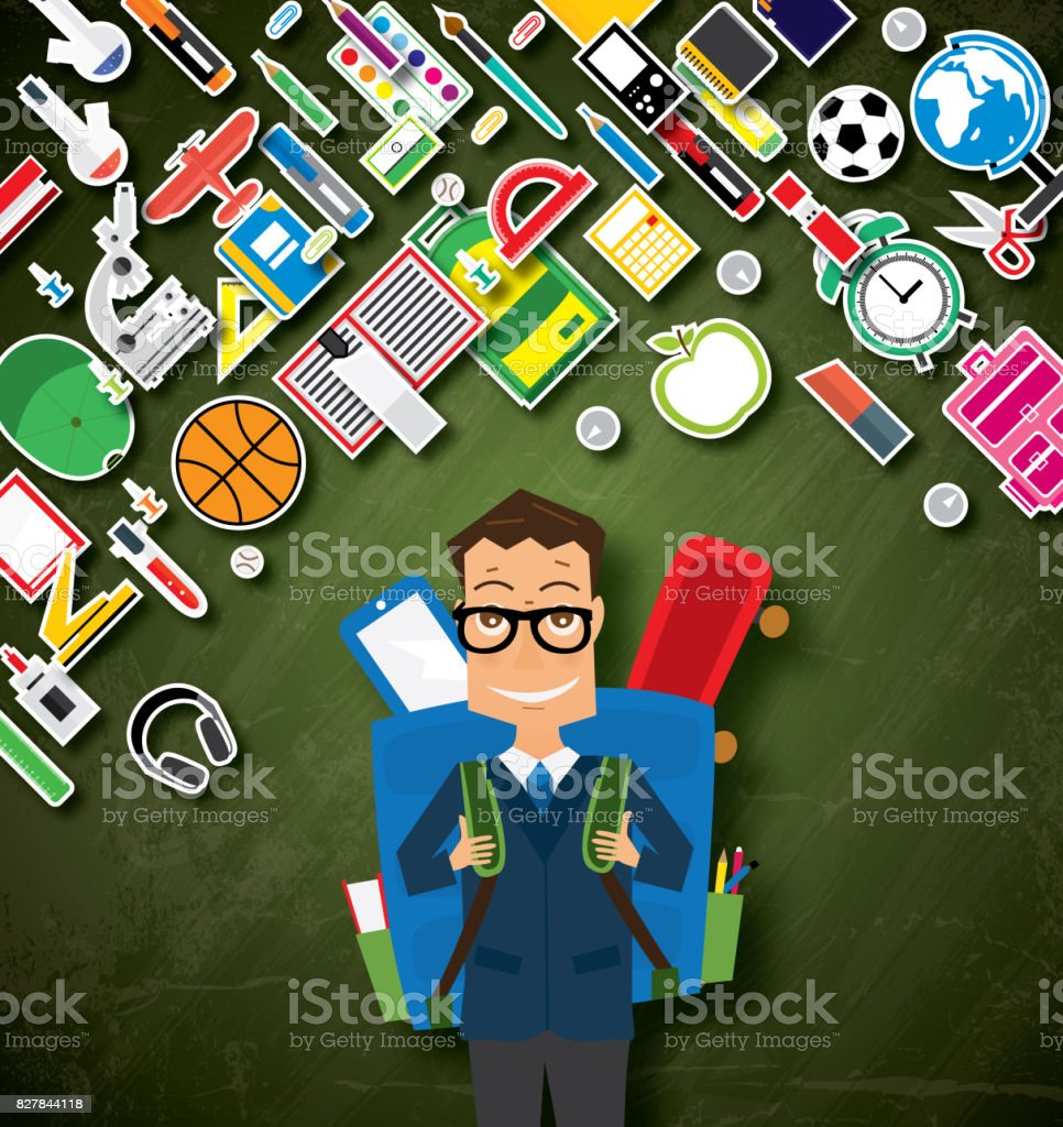 Smiling Young School Boy in Uniform with Blue Backpack and Supplies. stock photo