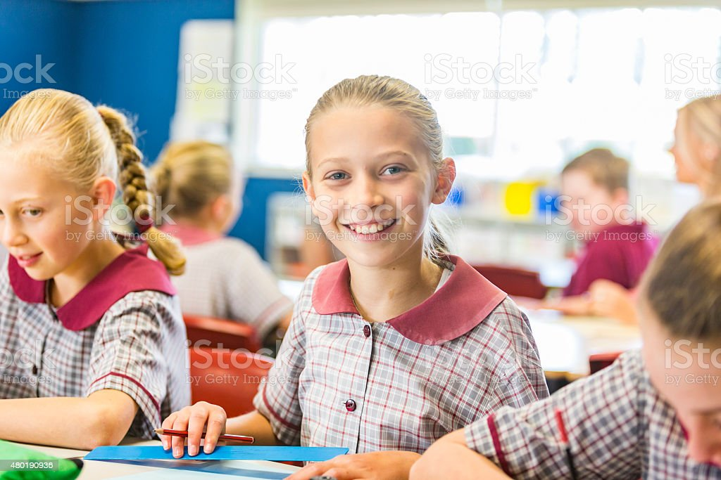 Smiling Young School Girl in a Classroom stock photo