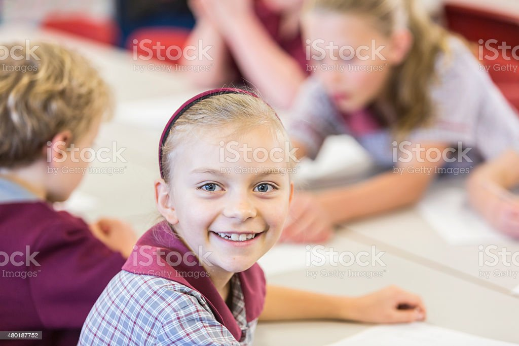 Smiling Young School Girl stock photo