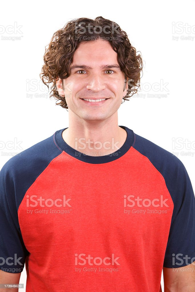 Smiling, young white male wearing athletic jersey royalty-free stock photo