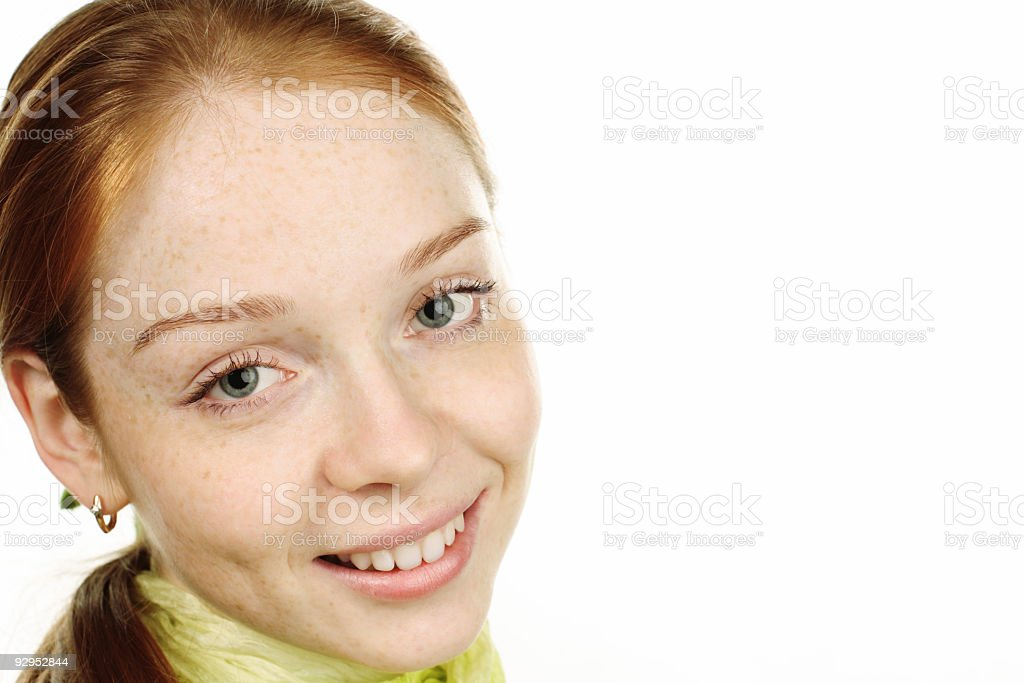 smiling young woman closeup stock photo
