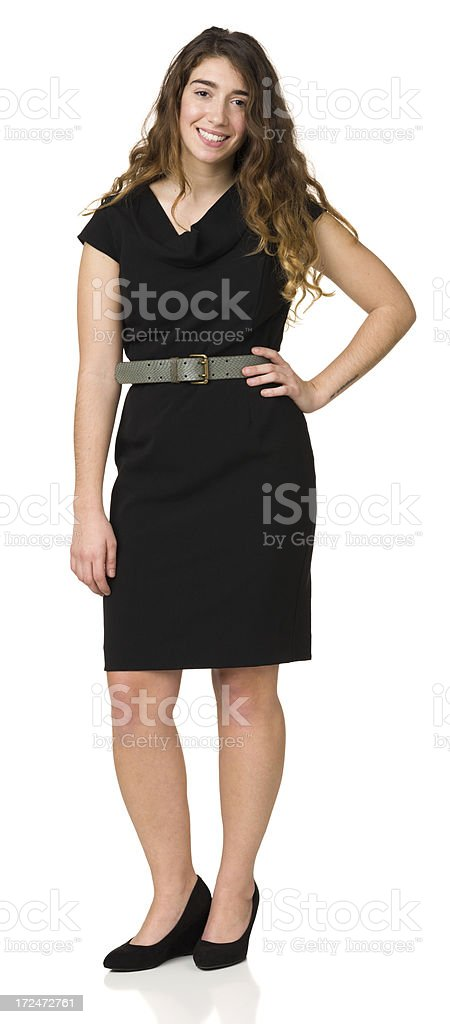 Smiling Young Woman Full Length Portrait royalty-free stock photo