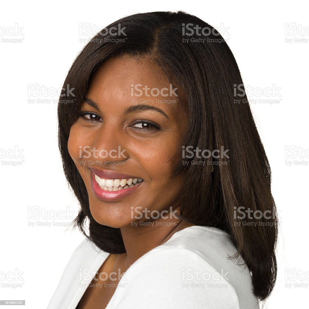 Smiling Young Woman Headshot Portrait stock photo