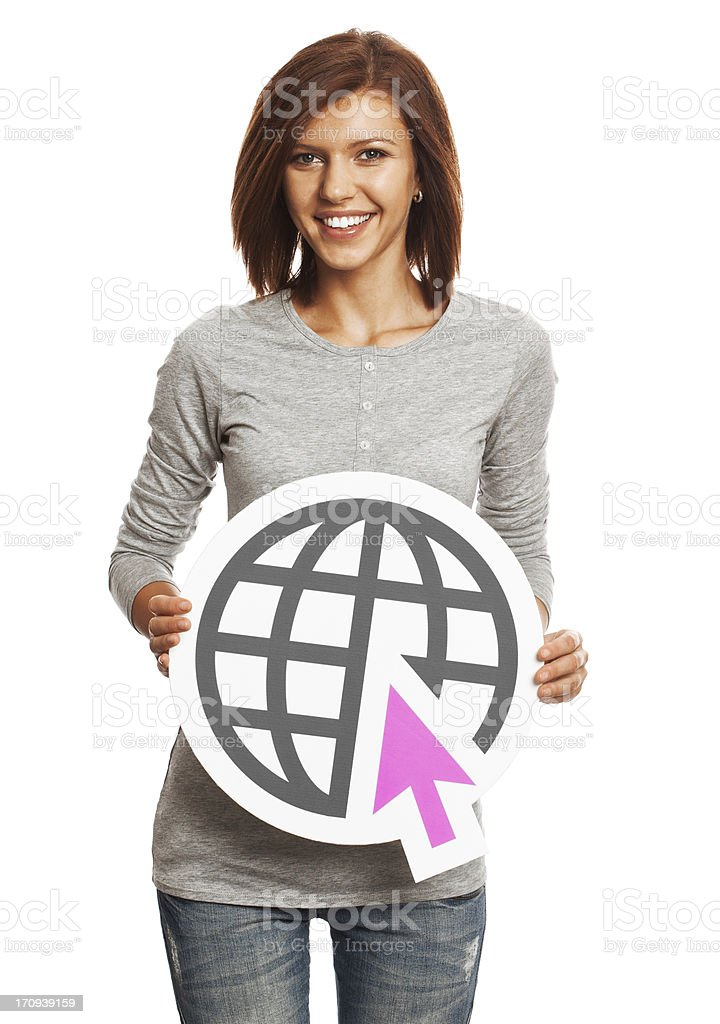 Smiling young woman holding internet sign isolated on white background royalty-free stock photo