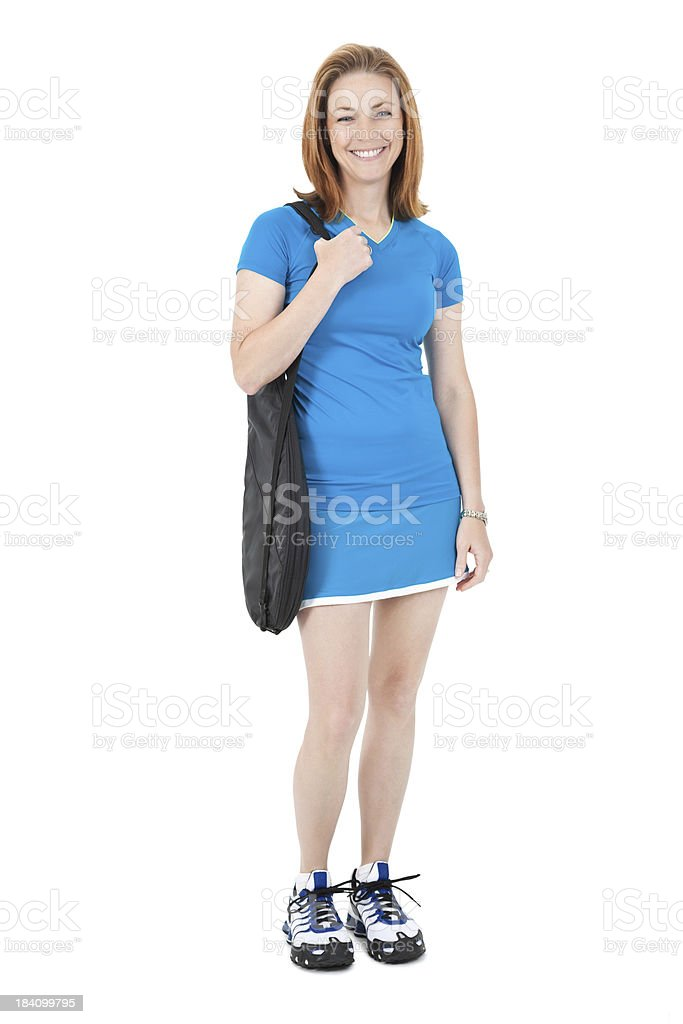 Smiling Young Woman Holding Tennis Racket Bag On Shoulder royalty-free stock photo