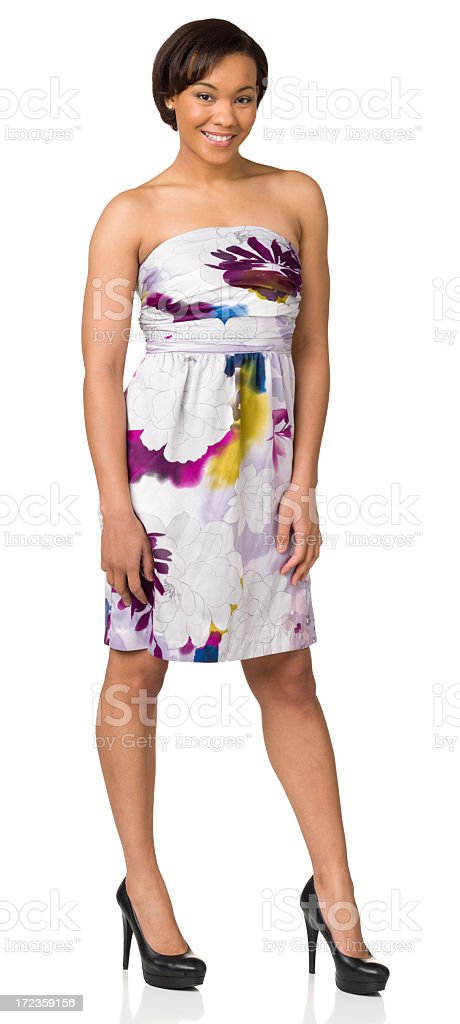 Smiling Young Woman In Casual Dress, Standing Full Length Portrait royalty-free stock photo