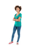 istock Smiling young woman in green t-shirt and blue jeans 164301567