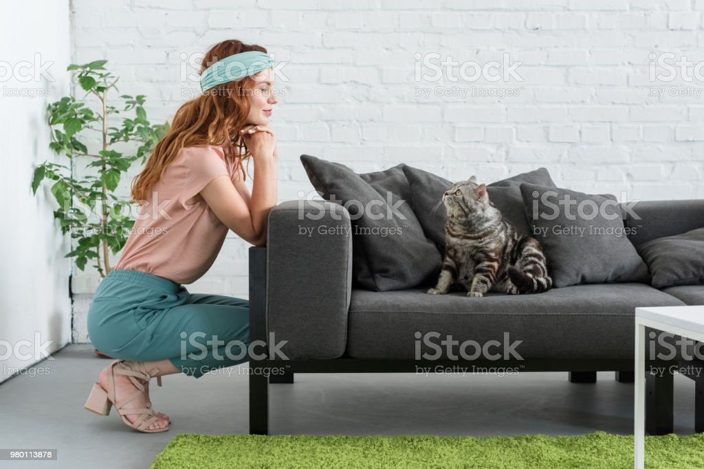 smiling young woman looking at her tabby cat while he sitting on couch at home stock photo