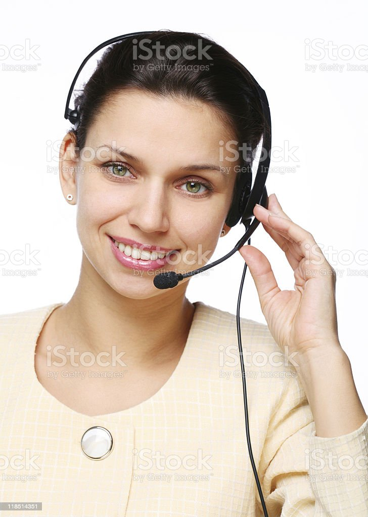 Smiling young woman - operator royalty-free stock photo