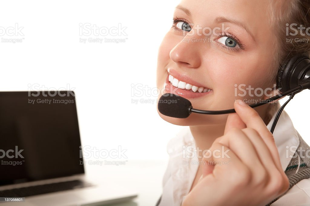 Smiling young woman receptionist royalty-free stock photo