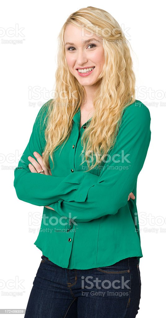 Smiling Young Woman, Three Quarter Portrait royalty-free stock photo