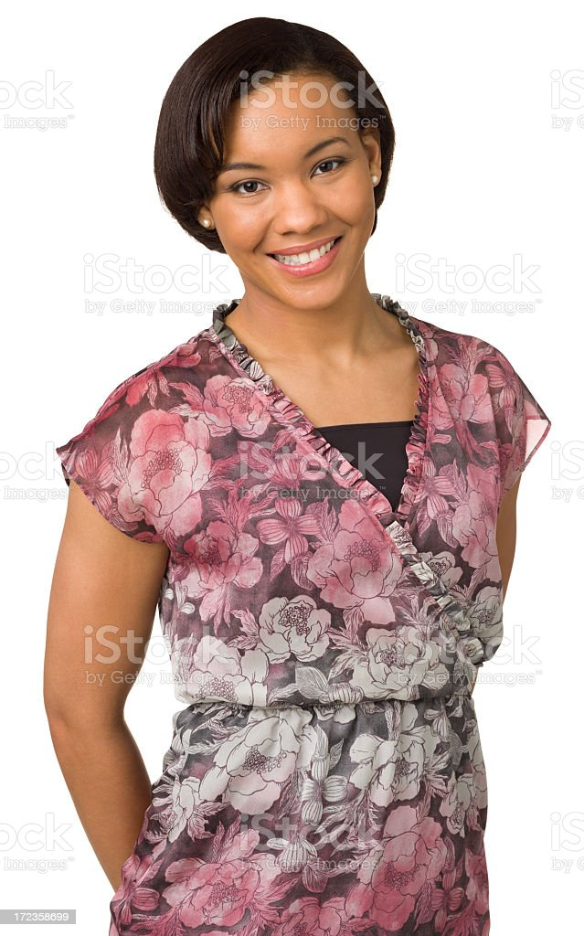 Smiling Young Woman Waist-up Portrait royalty-free stock photo