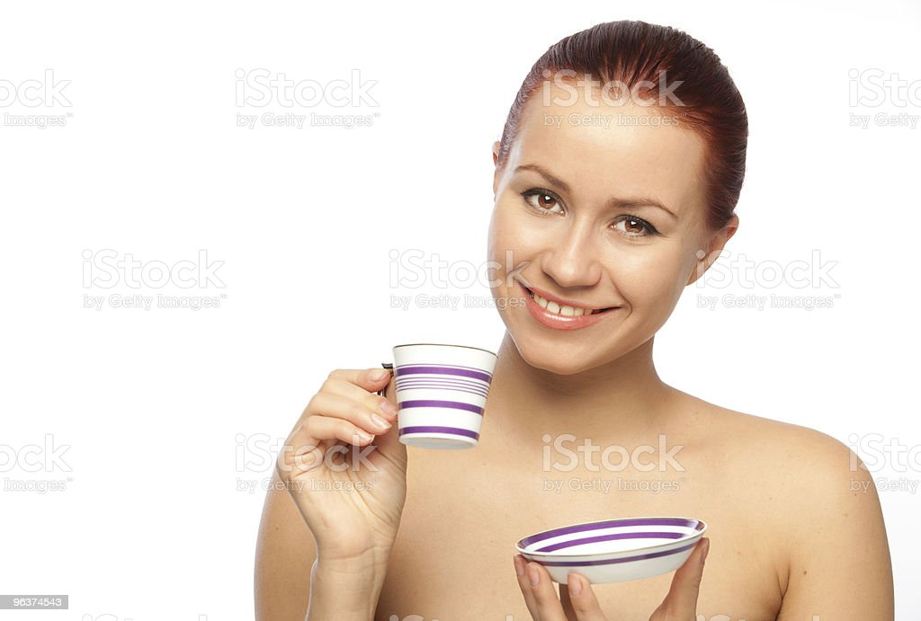 smiling young woman with coffee cup royalty-free stock photo