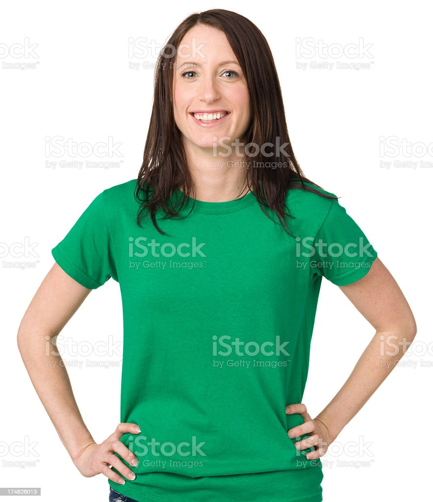 Smiling Young Woman With Hands On Hips stock photo