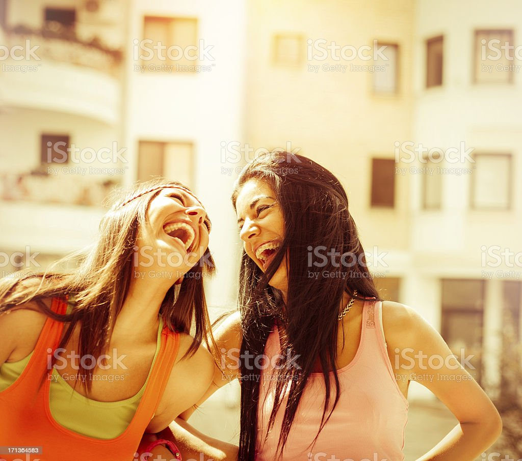 Smiling young women outdoors royalty-free stock photo