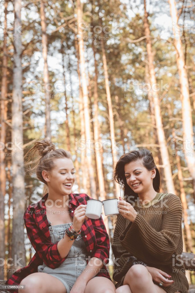 Smiling young women toasting cups in forest Smiling female hikers toasting cups. Beautiful young women are in forest. They are enjoying summer vacation. 20-24 Years Stock Photo