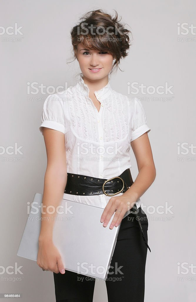 Smilling business woman with notebook royalty-free stock photo