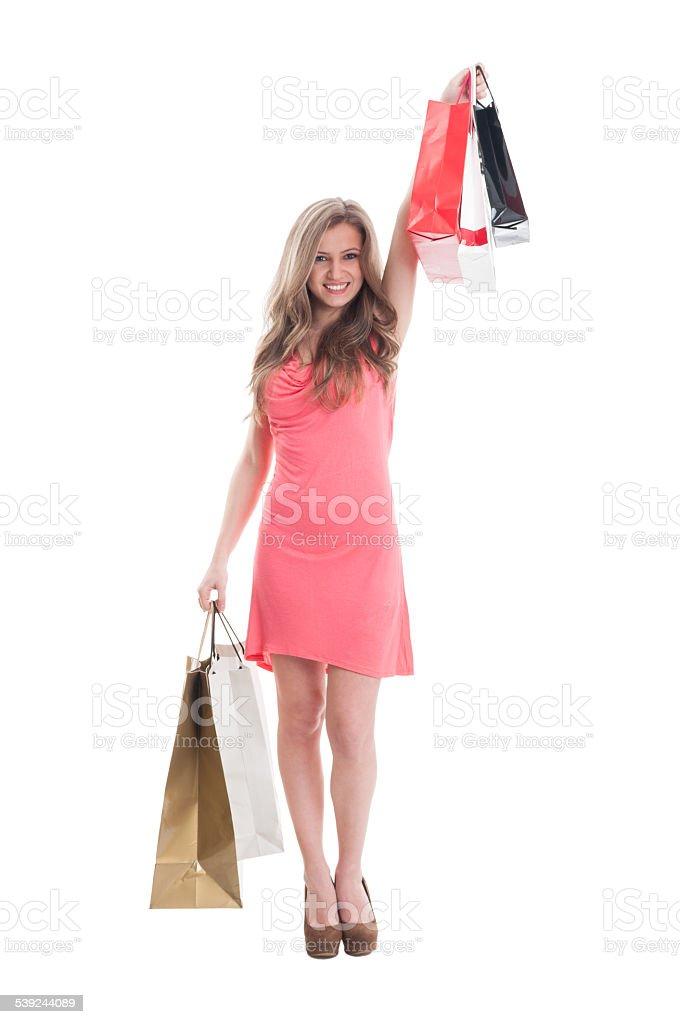 Smilling lady compras expresando alegría foto de stock libre de derechos