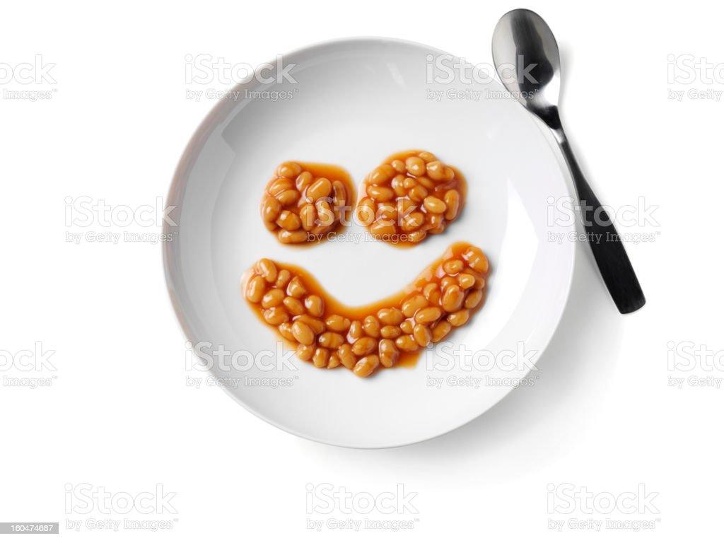 Smily Face Baked Beans stock photo