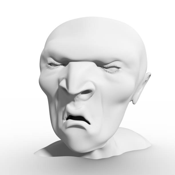 smirking face 3d model - sad cartoon images stock photos and pictures