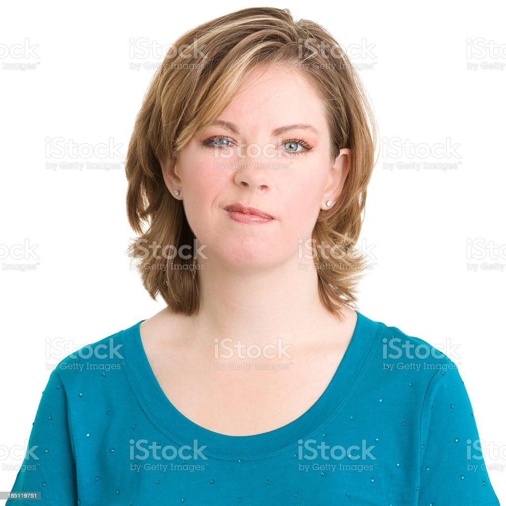 Smirking Young Woman stock photo