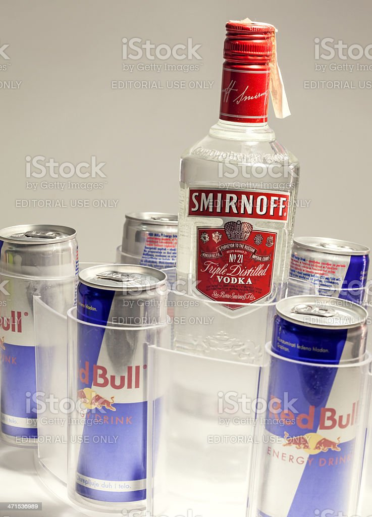 Smirnoff Vodka and Red Bull stock photo