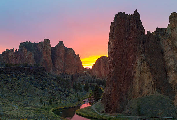 Smith Rock al tramonto - foto stock