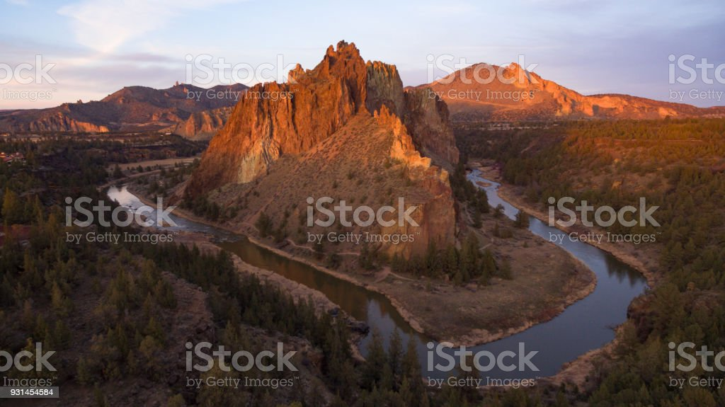 Smith Rock Crooked River Oregon State Rocky Butte stock photo