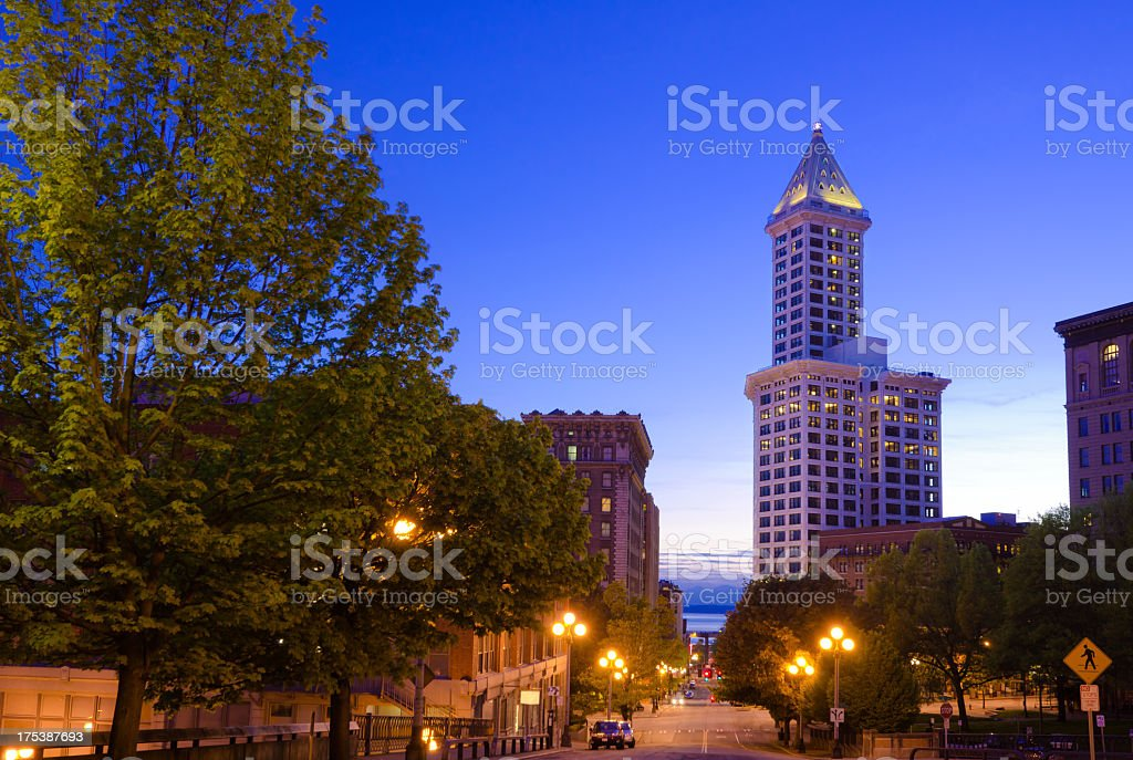 Smith Tower at Pioneer Square in downtown Seattle at dusk stock photo