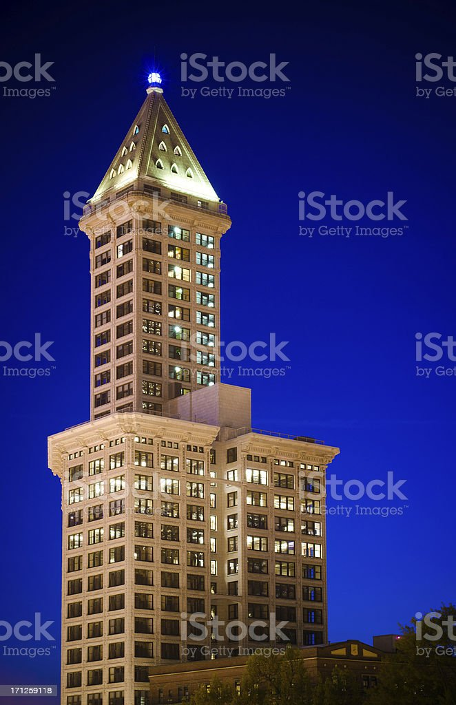 Smith Tower at Pioneer Square in downtown Seattle, WA stock photo