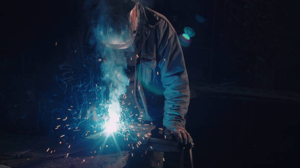 smith welding metal details - metallurgy stock photos and pictures