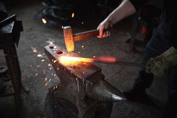 Smithing process stock photo