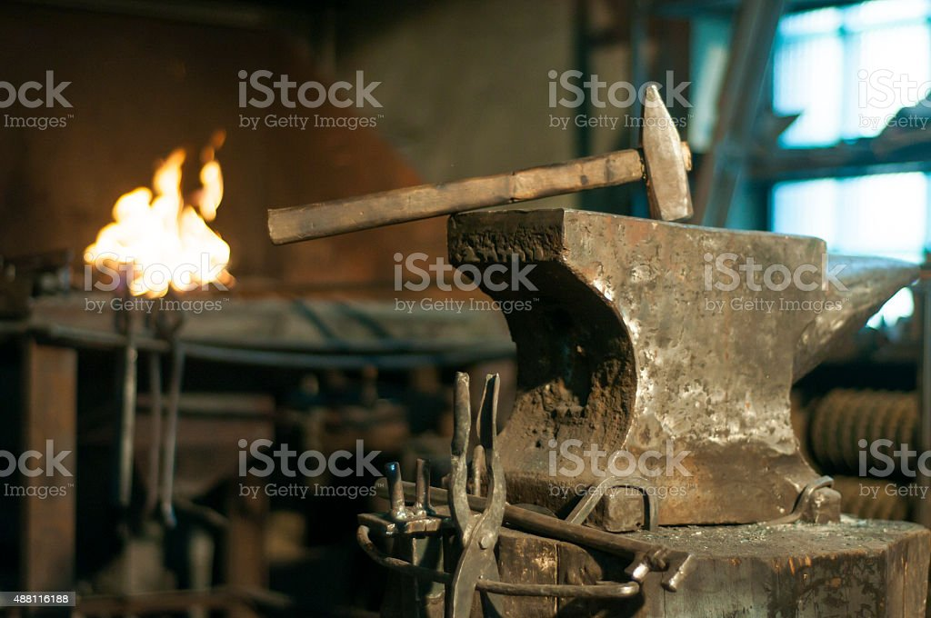 Smith's workshop stock photo