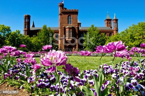 Washington DC, United States - May 2, 2013: Smithsonian Institution Castle garden