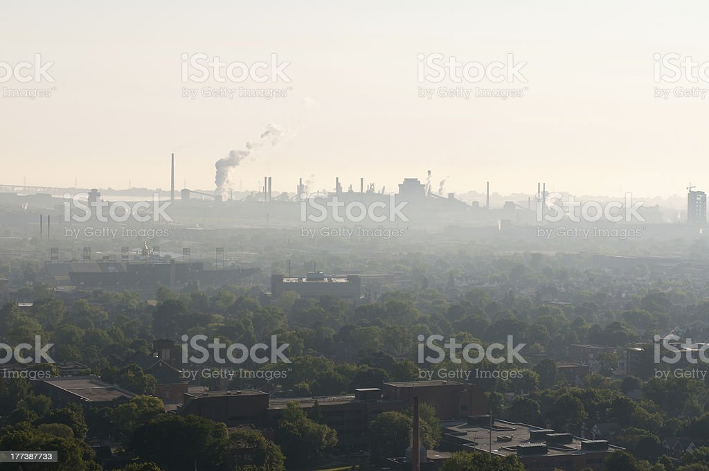 Smog and haze pollution landscape royalty-free stock photo