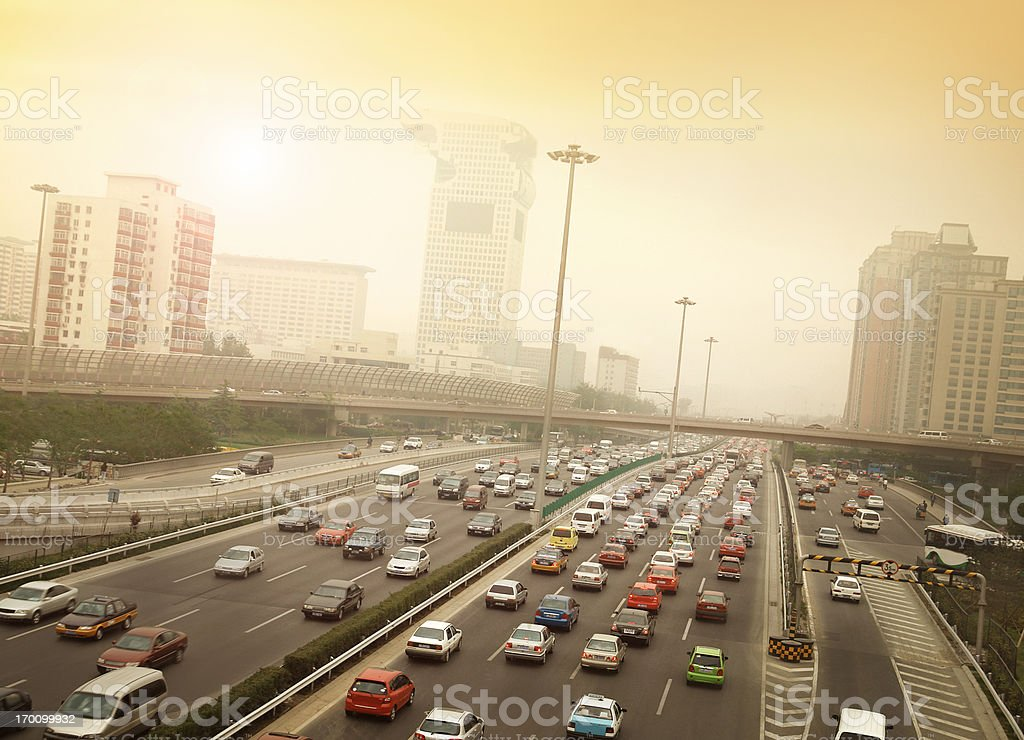Smog and Traffic Jam in Beijing stock photo