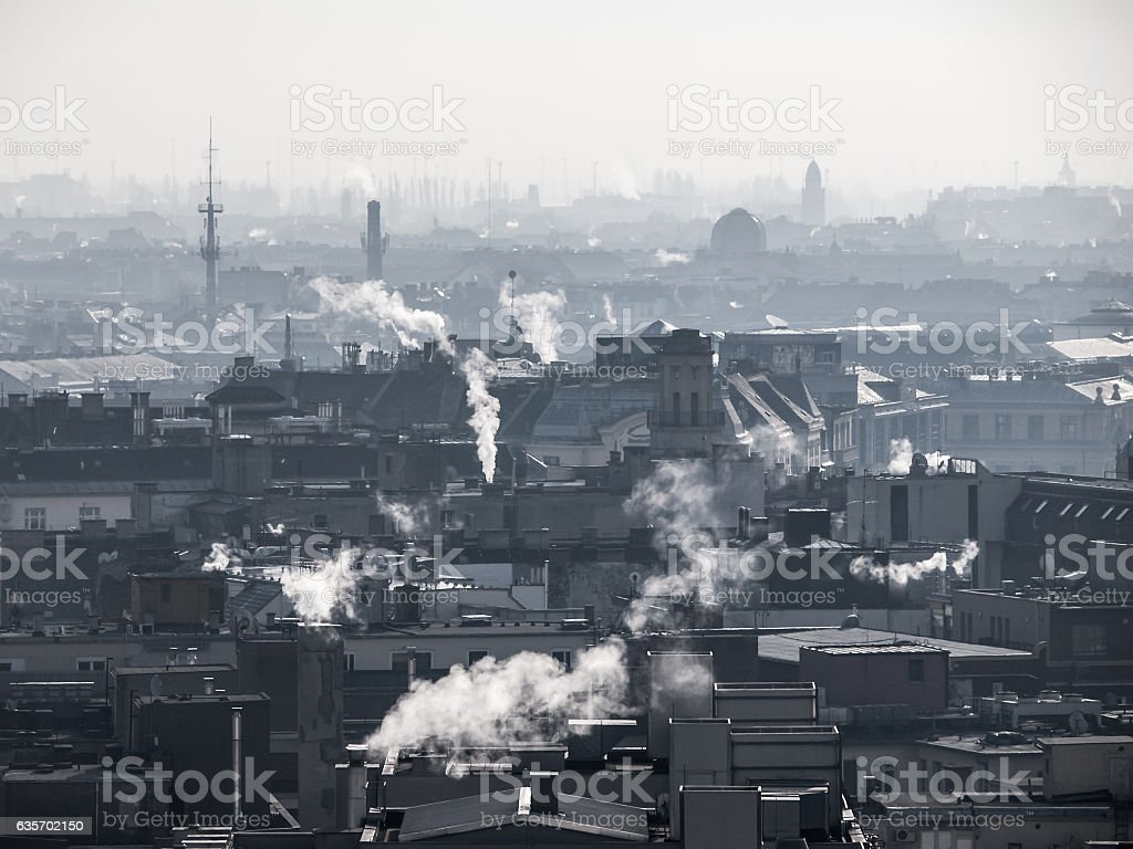 Smog - city air pollution. Unclear atmosphere polluted by smoke royalty-free stock photo