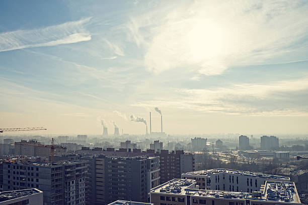 Smog, Coal-fired Power Station, factory in the middle of city stock photo