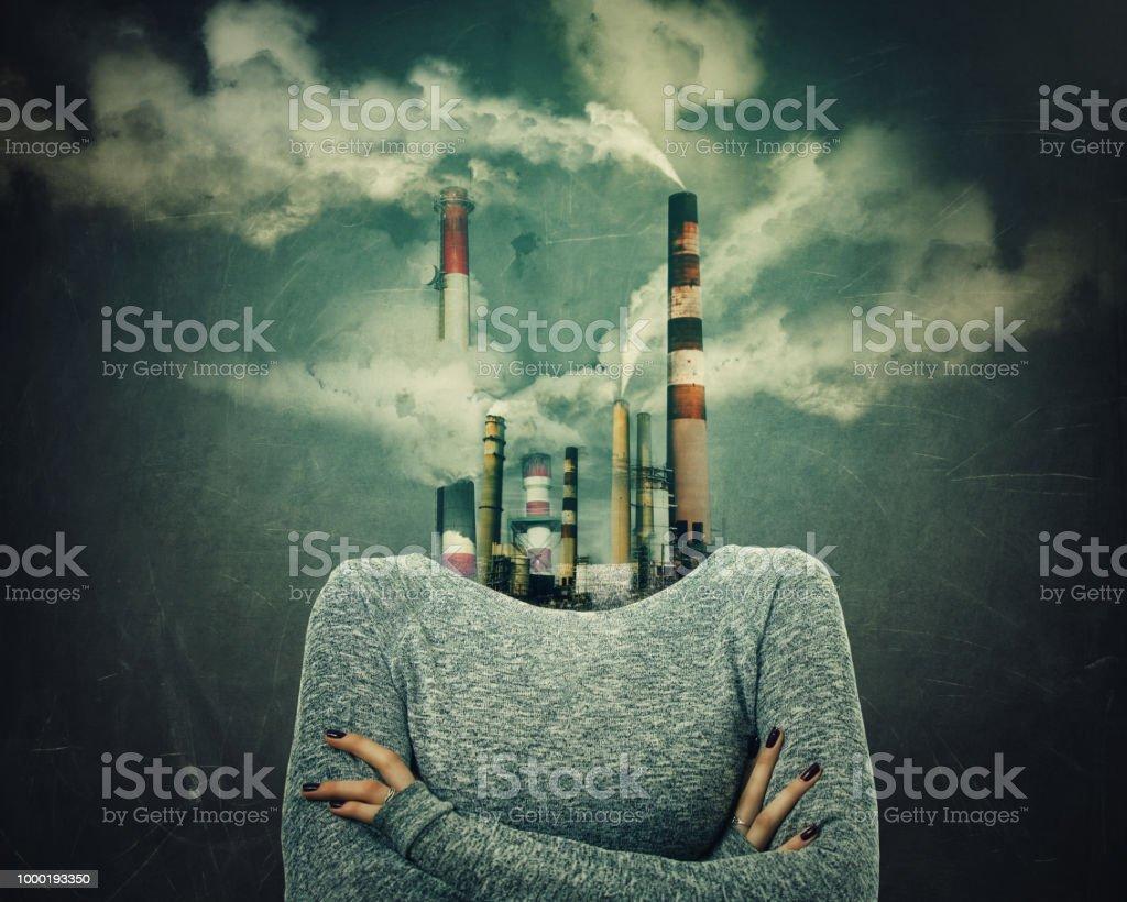 Smog verontreinigde lucht foto